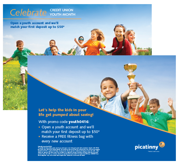 Picatinny Federal Credit Union Youth Campaign postcard handout
