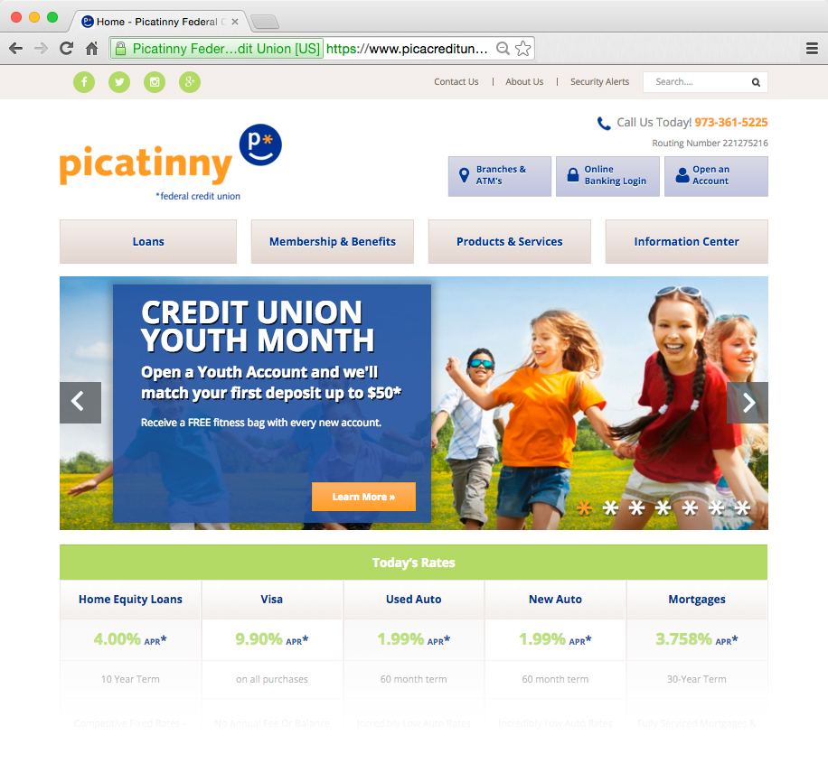 Picatinny Federal Credit Union homepage featuring the Youth Campaign